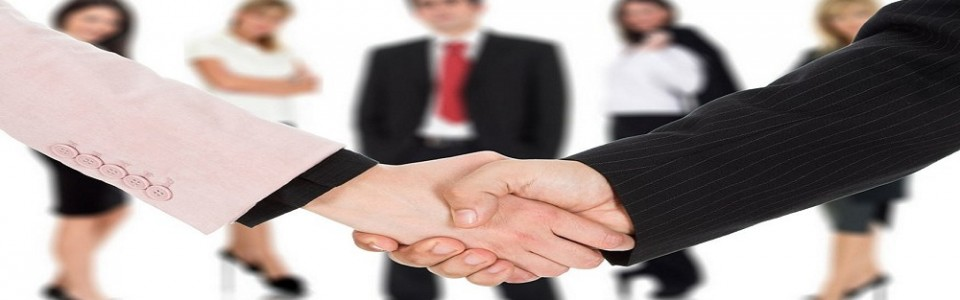Business handshake with team